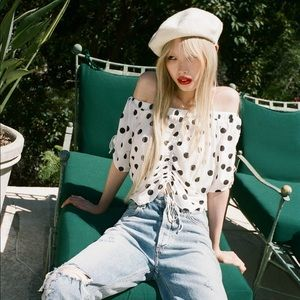 Urban Outfitters Bianca Polka Dot Off Shoulder Top